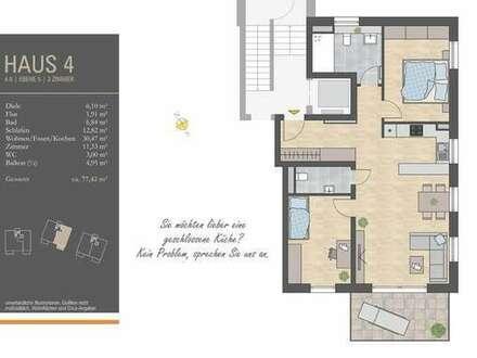 Lichtverwöhnte 3 Zi.-Whg., großer Wohn-/Essbereich, Südbalkon, 2. OG, H4/W6 - 26.250 € KFW-Zuschuss