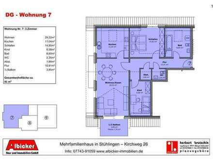 Neubau 9 Familienhaus Stühlingen- 3 Zimmerwohnung Dachgeschoss