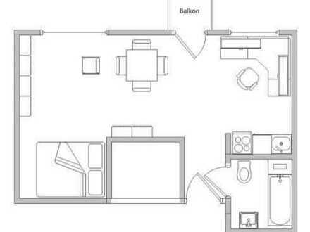 1-Zimmerwohnung mit Balkon, teilmöbiliert