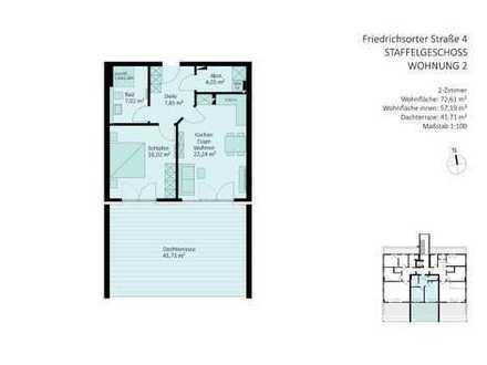 2-Zimmer-Penthouse mit großer Süd-Dachterrasse