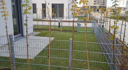 Neubau-Erstbezug. Elegante Gartenwohnung mit Terrasse und Loggia