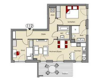 Neubau! 3 Zimmer-Wohnung in Horgau mit Traumbad und Südbalkon - Vermietung nur mit WBS II !