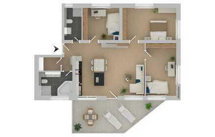 WE02: 4 Zimmer mit Terrasse und 2 Bädern