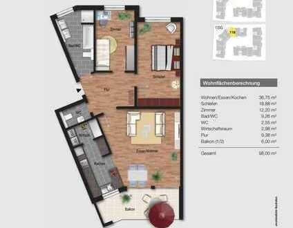 Moderne 3-Zimmerwohnung in zentraler Lage in Waldbronn