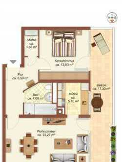 Ruhige 2-Zimmer-Wohnung mit Balkon und Blick ins Grüne provisionfrei zu vermieten