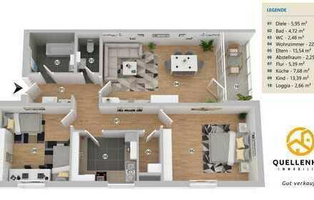 PROVISIONSFREI - Großzügige 3-Zimmerwohnung mit optimalem Grundriss und Balkon!