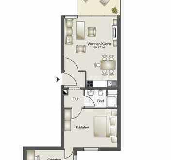 Gut geschnittene und großzügige 3-Raum Wohnung mit Meerblick und Balkon in 2. Reihe zum Meer