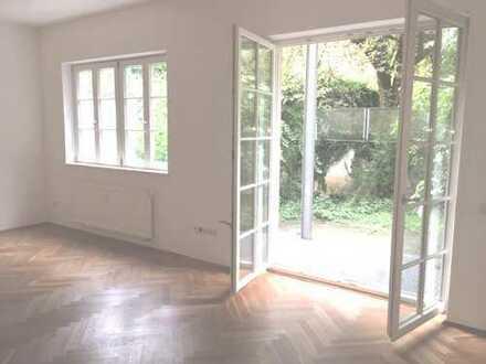 5-Zi.-Maisonette-Whg. im Erdgeschoss u. Souterrain mit Westterrasse u. Gartenanteil in Sendling