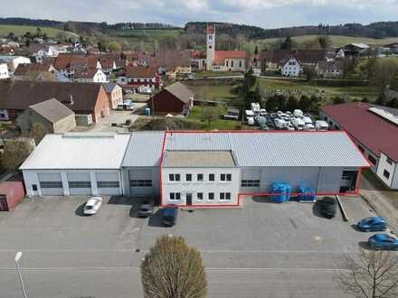 Mit sehr guter Anbindung an die B30! Vielseitig nutzbare Lager-/Produktionshalle mit Bürogebäude