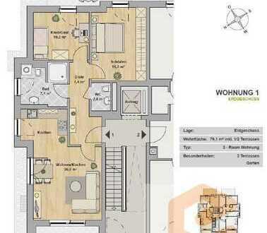 Hochwertige 3-Raum Wohnung mit 2 Terrassen mit ca. 61m² Garten & Tageslichtduschbad!