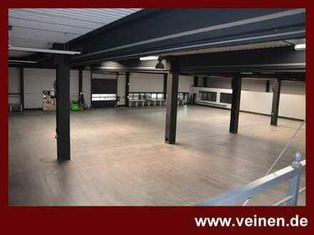 gepflegte Halle mit überdachter Freifläche und Büro