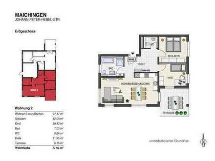 Schöne 3 Zi.- EG - Wohnung mit Terrasse und Garten