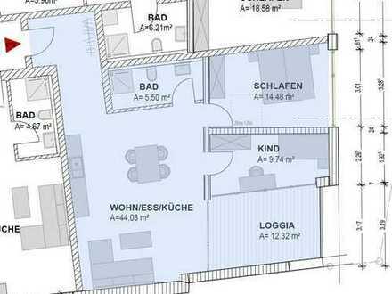 Hochwertige Erdgeschosswohnung mit Loggia (Nr.3), ca.79,64 m² in Bad Kötzting - zentrale und ruhige