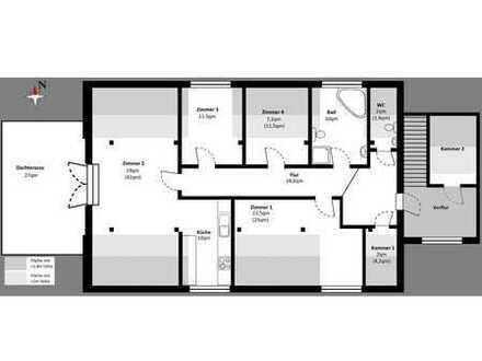 Grosszügige 4 Zimmer Wohnung im Dachgeschoss mit Dach Terrasse