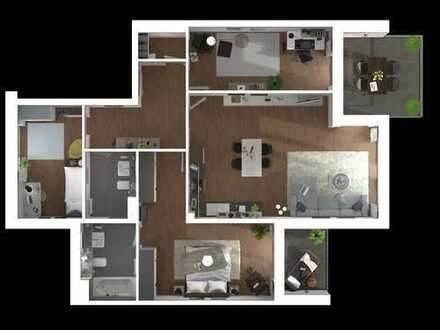 Platz für die ganze Familie ! Helle 4-Zimmer-Wohnung mit 2 Bädern und 2 Balkonen