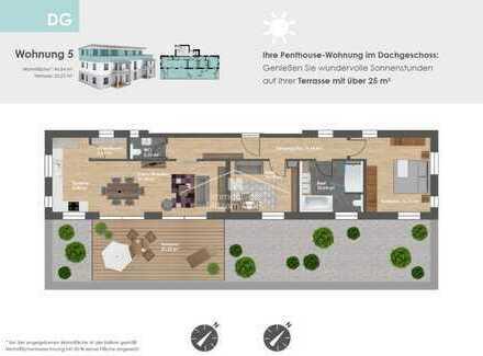 Penthouse-Erstbezug: 3-Zimmer-Wohnung mit riesiger Dachterrasse, Einbauküche, Aufzug, zwei TG-Stpl.