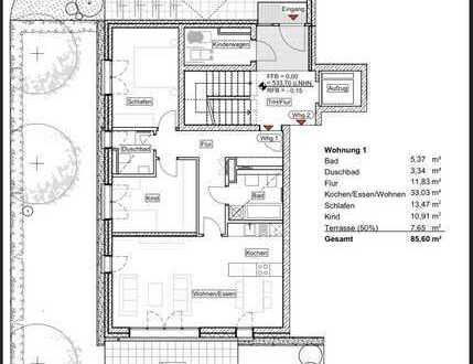 Neubau - Erstbezug: 3 Zimmer-Whg. mit Gartenterrasse, Gäste-WC und Fußbodenheizung