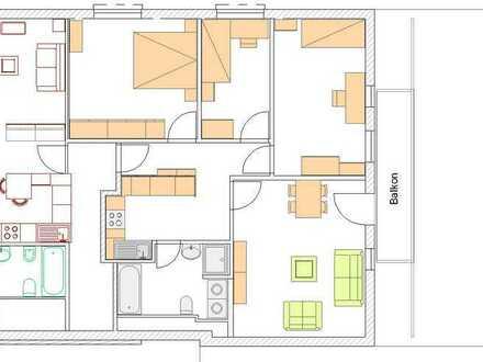 Gepflegte Dachgeschosswohnung mit vier Zimmern sowie Balkon und EBK in Berkheim
