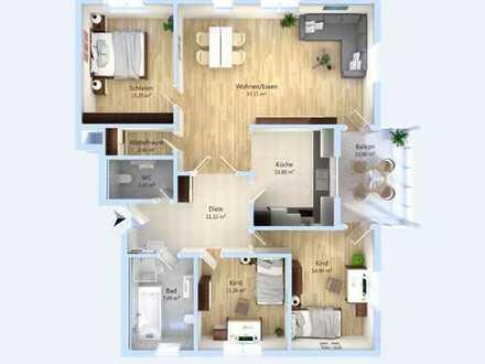 Viel Platz für's Familienglück! Zeitgemäße 4-Zimmer-Wohnung mit drei Schlafzimmern