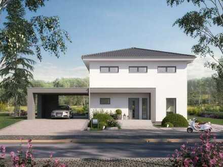 Moderne, helle Stadtvilla als förderfähiges Niedrigenergiehaus