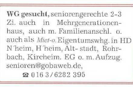 Hd/Mitte/Altstadt - Wohnung 2 Senioren*in in Mehrgenerationenhaus - (SanierungsProjekt)