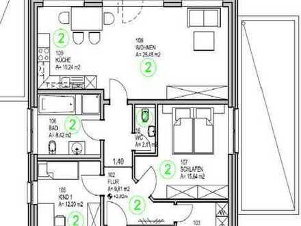 Moderne, geräumige drei Zimmer Wohnung mit Gartennutzung