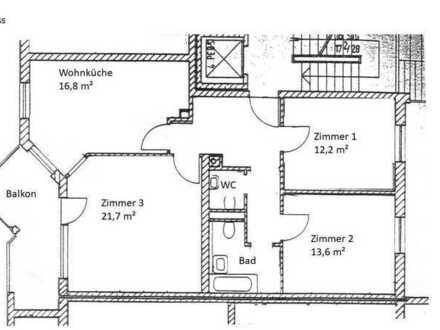 (Teilmöbilierte) Gepflegte 3-Zimmer-Wohnung mit Balkon und Einbauküche auch WG geeignet