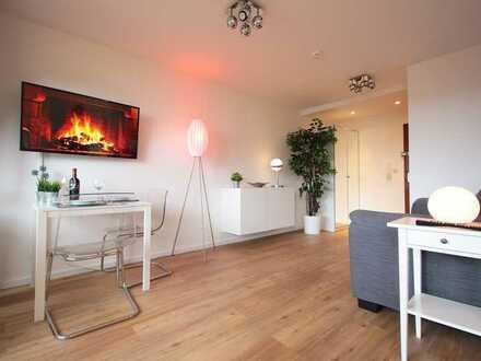 Exklusive, modernisierte, möblierte 1-Zimmer-Wohnung mit Balkon und EBK, 5 Min. zur S-Bahn