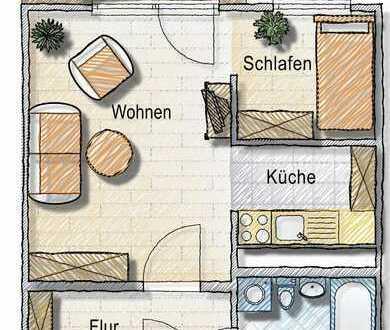 schöne Single-Einraumwohnung mit Balkon