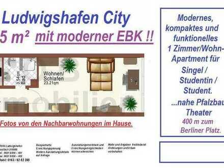 Lu-City 8/2020 später komfortable 1,0 ZKB 35 m² separate Küche/EBK, Wohn-/Arbeitsber.- nahe Pfalzbau