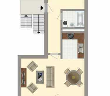 1-Raumwohnung mit Badewanne und offener Küche