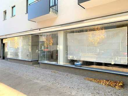 Veredelter Rohbau - leerstehende Gewerbeeinheit mit Lagerfläche und großer Fensterfront