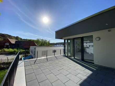 Komfortable 4-Zi-Penthouse-Whg. mit 2 herrlichen Dachterrassen im Roßdörfer Neubaugebiet 'Erlehe''