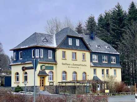 Beste Lage! Auerbach, Am Schwarzen Teich, schönes Restaurant mit Wohnungen und Baugrund