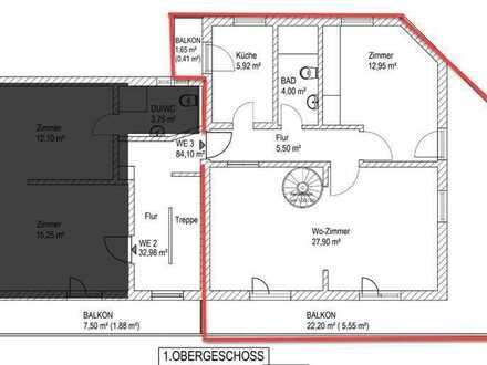 Erstbezug nach Sanierung: attraktive 4-Zimmer-Wohnung mit Balkon in Oberau