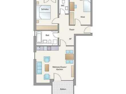 3-Zimmer-Wohnung mit Balkon: Ideal für Paare und kleine Familien