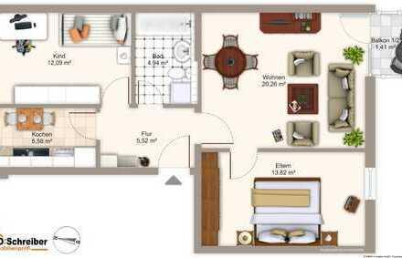 Schön eingeteilte Drei-Zimmer Wohnung im Zentrum Deggendorf mit Balkon in den Innenhof