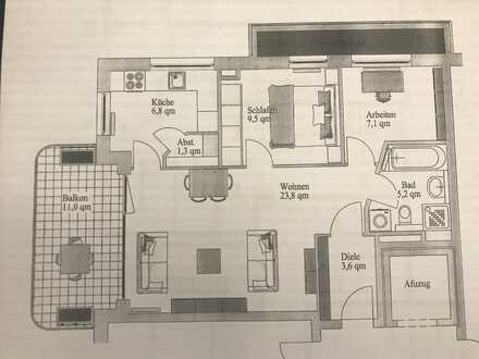 Gepflegte 3-Zimmer-Wohnung mit Ausblick in Uni Nähe