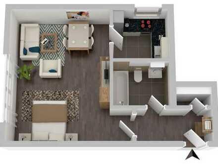 Schöne geräumige 1-Zimmer-Wohnung, 43 m², Bad/WC, Einbauküche