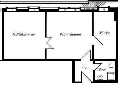 Äußere Neustadt: 2-Raum-Wohnung im Dachgeschoss