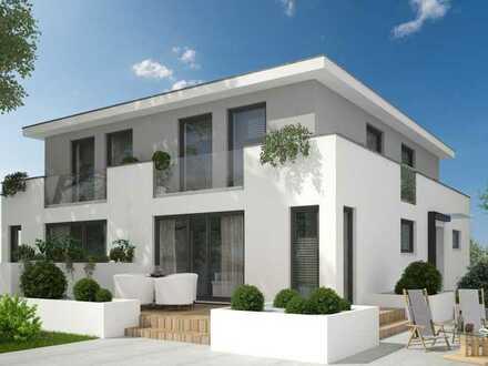 Moderne Doppelhaushälfte in Bestlage, 150 m² bis auf 180 m² erweiterbar, direkt vom eigenen Südgarte