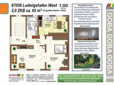 Lu - West: großer Garten 2,0 ZKB 1.OG ca. 65 m² 3 Familienhaus mit Gartenanteil