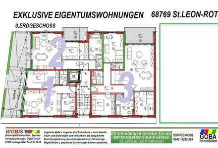 Modern Naturnah nahe SAP - barrierefrei 2,0 ZKB Balkon 62 m² Neubau-ETW KfW55 Effizienz