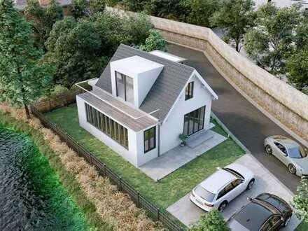 Grundstück direkt am Neckar mit Baugenehmigung für kleines Haus mit 2 Stellplätzen