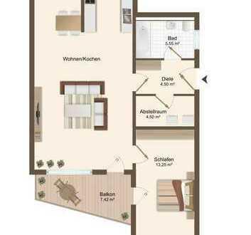 Erstbezug im Neubau. 2 Raum-Wohnung mit Balkon und KFZ-Stellplatz