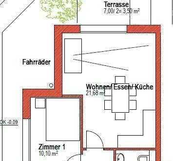 Heidelberg-Kirchheim, 2-Zimmer im EG mit Terrasse