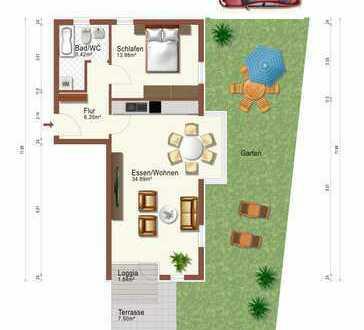 Sehr schöne 2-Zimmer Wohnung mit Garten, Terrasse auf Erbpacht.