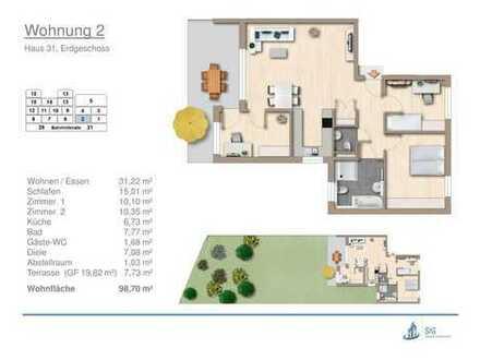 attraktive 4-Zi.-Neubau-Erdgeschoss-Wohnung mit 300 qm Garten in Erdmannhausen