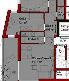 Neubau-Architektenwohnung, 3 ZKB-ETW mit Südwest-Balkon, provisionsfrei!