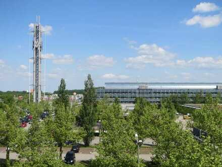 Arbeiten im Norden Leipzigs mit Blick auf die Messe